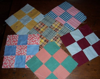 Set of 6..Vintage Quilt Blocks..Quilted Patchworks Pieces...Handmade Quilt Squares...Quilt Pieces...Pillow top Quilt Pieces..