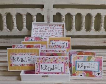 Personalized Note Cards Custom Stationary Box Birthday Wedding Gift Baby Shower Sweet Sixteen Bat Mitzvah
