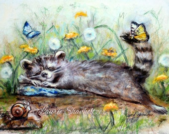 """Raccoon Art Print, children Nursery, baby animal, kids decor, Flat canvas print,   """"Snoozing On A Lazy Afternoon"""" Laurie Shanholtzer"""