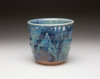 green blue glazed ceramic  bowl  cup tumbler