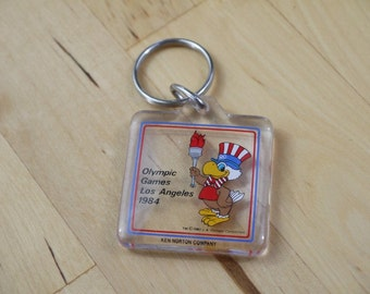 Vintage Olympic Games Los Angeles 1984 Sam the Eagle Clear Plastic Square Key Chain