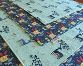 Blue Placemats (2, 4, 6) with Deer and Owls, Reversible Cloth Placemats, Woodland Placemats, Dear Stella Wee Gallery Hilltop, Fall Table