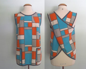 Crossback Apron, Smock, Cotton Duck Canvas, Orange, Turquoise Blue and Gray Geometric Design, Crisscross Apron, Over the Head, Hopscotch