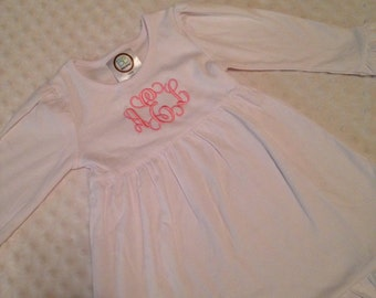 Monogrammed Dress - Baby Girl or Toddler Girl White Dress Embroidered with Initials - Holiday Winter Christmas Dress 12 Mo 2T 3T 4T 5 6 8