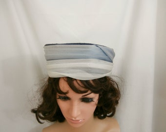 Vintage 1960s Blue Pillbox Hat with Off White and Blue Shear Band