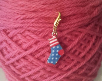 Sock Knitting Stitch Markers-Project Bag Zipper Charm-Purse Charm-Cell/Planner Charm-Progress Keeper-Sock-Red/White/Blue