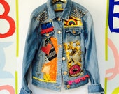 Custom order for Cat MAMA Womens Denim Jacket Upcycled African Print