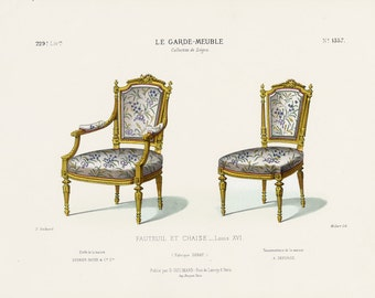 French Interior Design Print of Armchair and Chair by Guilmard Paris c1866 Original Antique Hand colored Lithograph of Louis XVI Furniture.