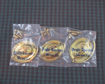 Set of 3 Brass Escutcheons & Handles - Anglo-American Brass Co. - Unused NOS