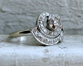 Swirly Vintage 14K White Gold Diamond Engagement Ring -0.72ct.