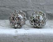 Amazing Vintage 14K White Gold Diamond Cluster Earrings - 1.50ct.