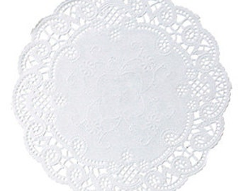 "5"" Round French Lace White Paper Doilies, Set of 50, Made in USA"
