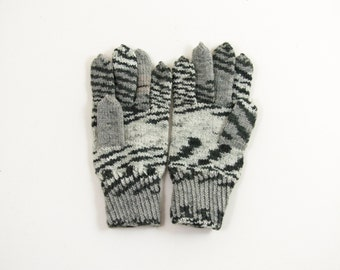 Knitted Men's Gloves - Gray, Size Large