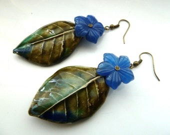 handmade blue flower and ceramic leaf earrings, UK jewellery
