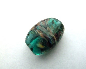 teal and goldstone focal handmade lampwork glass beads