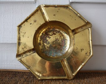 Faux bamboo brass ash tray, Hollywood Regency, Chinoiserie