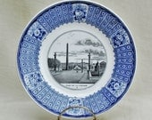 Antique French earthenware plate with Place de la Concorde transfer decoration, blue and white Lebeuf Milliet plate, mid-19th century plate