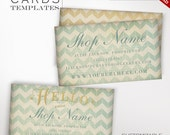 Whimsical Business Cards - Customizable Vintage Gold & Chevron Design Business Card Template -  Vintage Ephemera Charming Business Cards