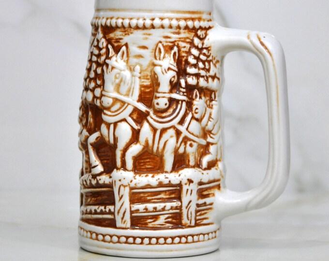 Vintage Beer Stein, Brown and White, Horses Pulling a Cart, Made In Brazil, Beer Mug, Bier Stein, Barware, Tavern, Ceramic Stein, Pub Stein