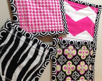 "4.5"" Black and Pink/Zebra Print Quilt Block Fabric Indoor/Outdoor/Picnic Coasters/Mug Mats - 4 piece set"