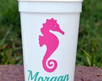 SALE 5 adorable Personalized Seahorse Party Favor Cups