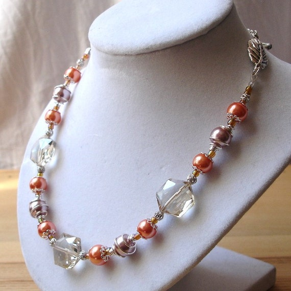 Peach Crystal Pearl Bead Necklace, Bold Party Jewellery, Gift for Mum, 30th Birthday Gift, Women Jewelry, High Fashion, Summer Finds