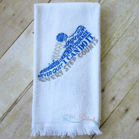 Personalized Sweat Towel: Runner's Sweat Towel Inspirational Running Shoes