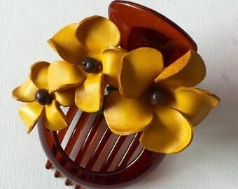 Plumeria flower leather hair comb and bun holder