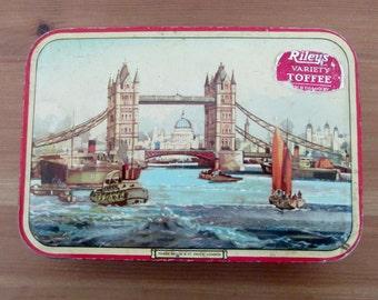 Vintage Riley's Toffee Tin Tower Bridge & St. Paul's London