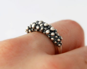 Silver balls ring modern ring sterling silver cast ring caviar ring