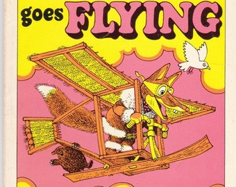ON SALE Basil Brush Goes Flying  -  Vintage Childrens Book - American Edition 1970s