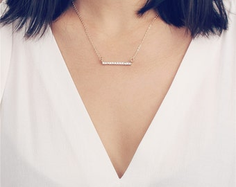 CZ pave bar gold necklace - Simple everyday necklace - layering necklace