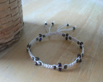 Hemp Glass Beaded Bracelet 7 1/4""