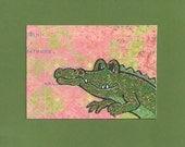 ACEO, ATC, Art Trading Card, Original, Collage, Mixed Media, Hand Drawn, Kid Friendly, Alligator