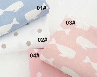 Cotton Twill Fabric, Kids Sheet Quilting fabirc, Cartoon Whale fabric, Cartoon Cotton Fabric 1/2 yard (QT783)