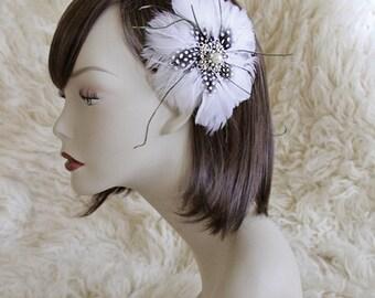 White Guinea Feather & Rhinestone Brooch Bridal Hair Fascinator