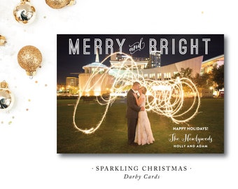 Sparkling Christmas | Merry and Bright | Just Married Christmas Card | Printed or Printable by DarbyCards