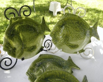 "4 Green Glazed Vintage 10"" x 9"" Fish Plate"