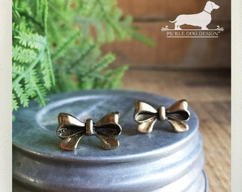 Vintage Bow. Post Earrings -- (Vintage-Style, Studs, Romantic, Bow, Feminine, Shabby Chic, Antiqued Brass, Cute, Bridesmaid Gift Under 10)