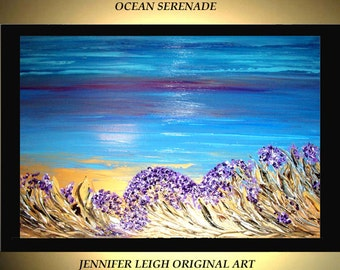 Original Large Abstract Painting Modern Acrylic Painting Oil Painting Canvas Art Blue Purple Gold Sunset 36x24 Textured Wall Art  J.LEIGH