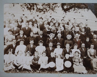 Original French late 1800's  Large Sepia or Black and White Wedding Photograph Photo: Vintage Bridal Party