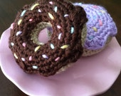 RESERVED - WADE Hand Crocheted Colorful Faux Donuts (Pink cake stand NOT included in sale )