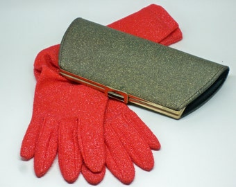 Vintage 1960's red metallic sparkle lamè knit elbow length evening gloves