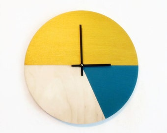 Wall Clock, Modern Home Decor, Gold and Blue, Ready To Ship, Home and Living, Decor and Housewares