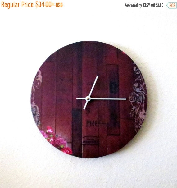 Items Similar To Sale Large Wall Clock Red Clock Unique