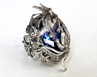 Dragon Ring Fantasy Silver Ring Game of Thrones Ring Sapphire Swarovski Gothic Ring Statement Ring Game of Thrones Jewelry Gothic Jewelry