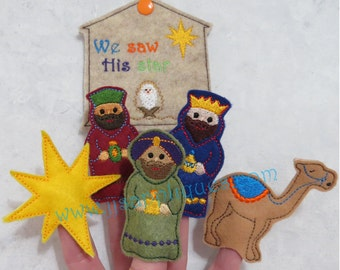 ITH 3 Wisemen Finger Puppet Set with Carry Case Digital Embroidery Designs - Instant Download