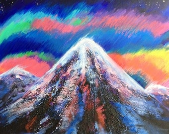 Psychedelic Mountain Painting, Colorful Artwork, Landscape, Night Sky