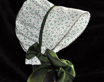 St. Patrick's Day Baby Bonnet with satin piping and ties and satin lining perfect little leprechaun
