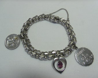 Vintage Sterling Silver Charm Bracelet Double Loop w/ 3 Charms